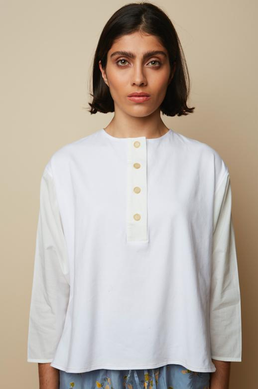 White Jersey & Voile Meadow Organic Sweat Blouse-Sweatshirt-Rakha-MAMOQ