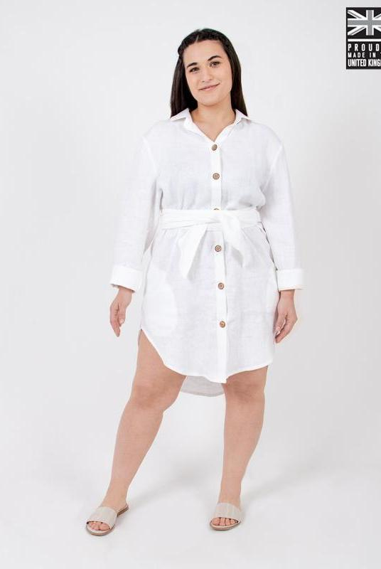 White Linen Shirt Dress-Zola Amour-MAMOQ