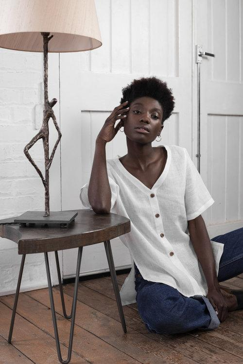 White Linen Short Sleeve Shirt-Veryan-MAMOQ
