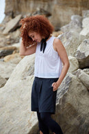 White Pleated Tank Top-Asmuss-MAMOQ