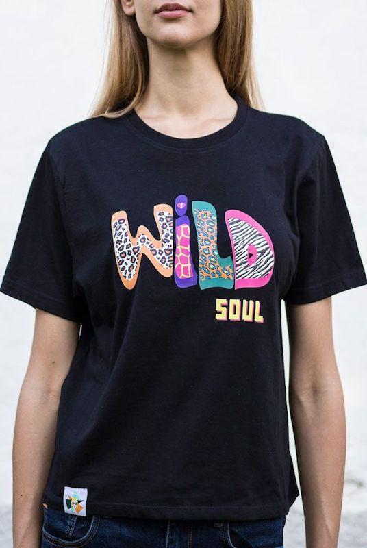 Wild Soul Black Recycled Cotton T-Shirt-blonde gone rogue-MAMOQ