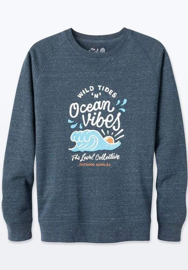 Wild Tides Unisex Ocean Blue Organic Cotton Sweater-The Level Collective-MAMOQ