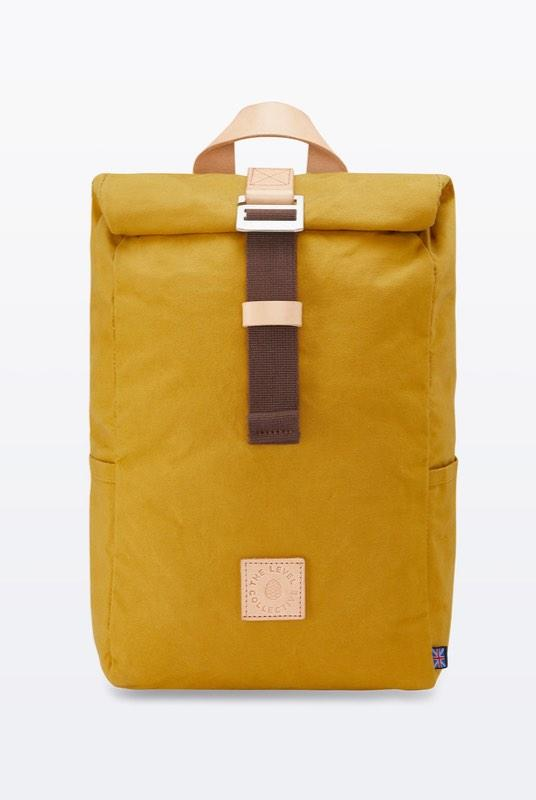 Winnats Mustard Waxed Organic Cotton Roll Top Backpack-The Level Collective-MAMOQ