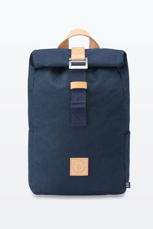 Winnats Navy Waxed Organic Cotton Roll Top Backpack-The Level Collective-MAMOQ
