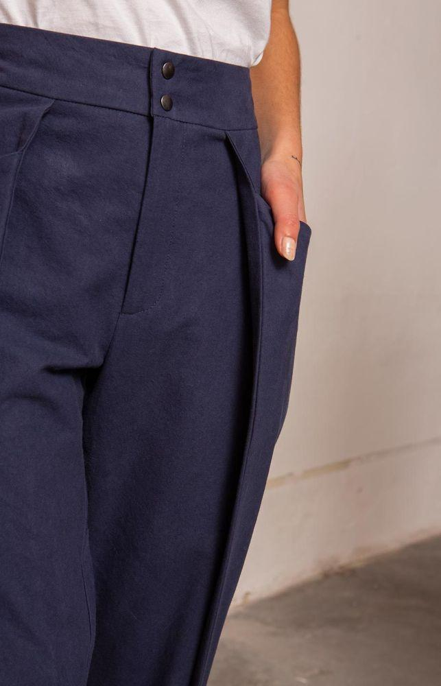Wish Marine Blue Pleat Front Trousers-TAUKO-MAMOQ