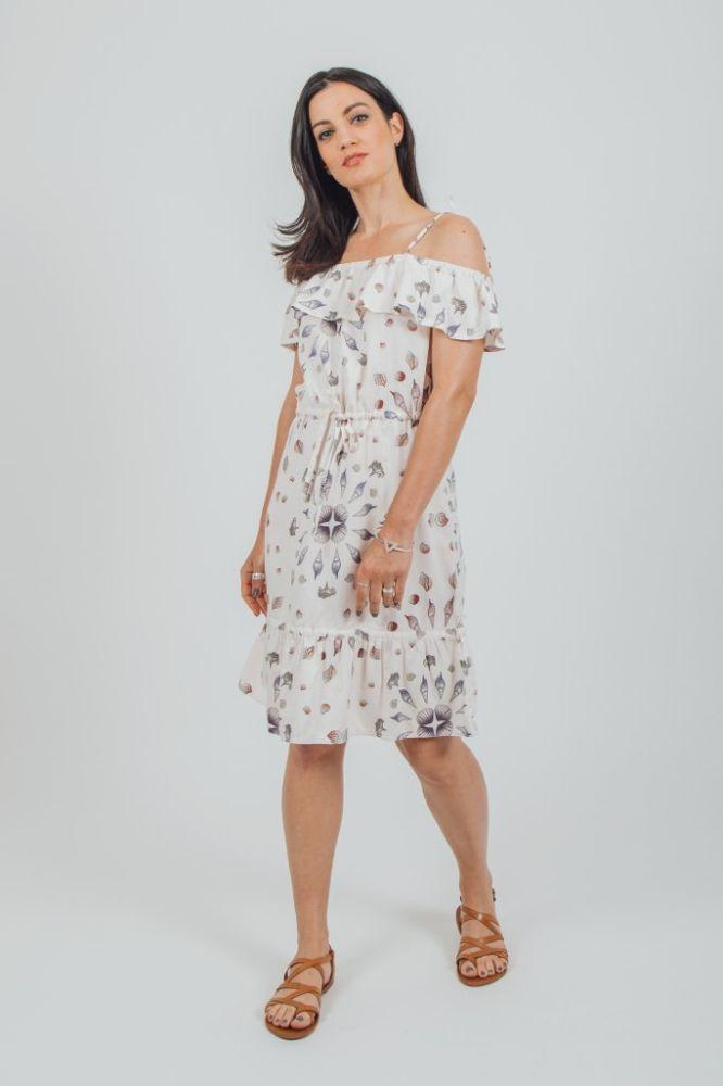 Wittering White Tencel Off Shoulder Midi Dress-VILDNIS-MAMOQ