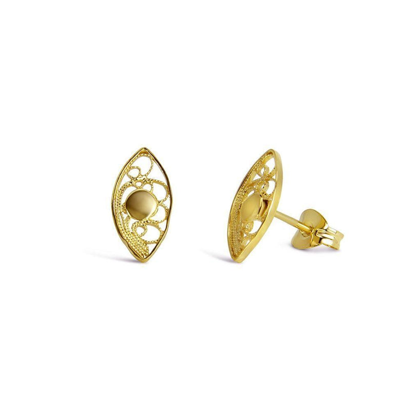 Yellow Gold Almond Stud Earrings-Arabel Lebrusan-MAMOQ