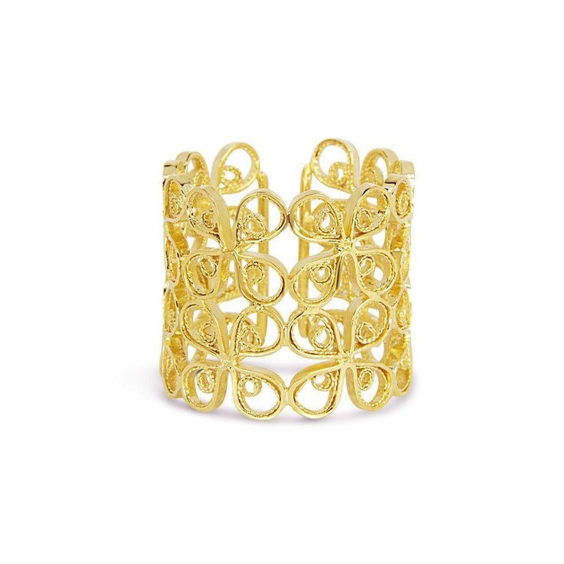Yellow Gold Filigree Double Clover Ring-Arabel Lebrusan-MAMOQ