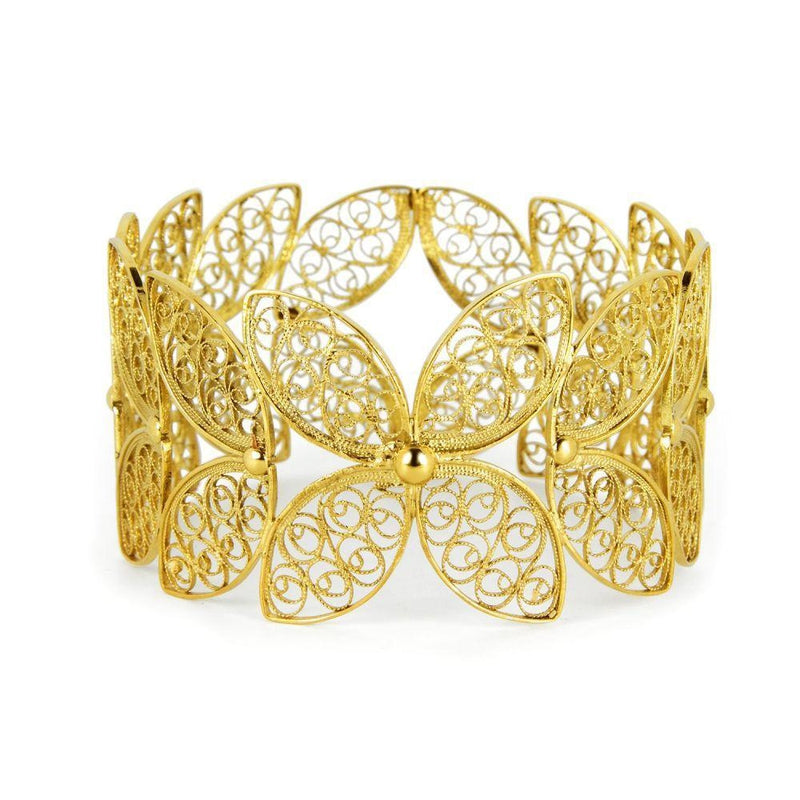 Yellow Gold Filigree Walnut Leaf Bangle-Arabel Lebrusan-MAMOQ