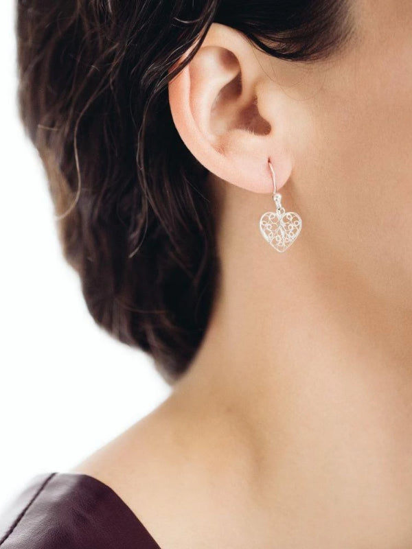 Yellow Gold Heart Filigree Earrings-Arabel Lebrusan-MAMOQ