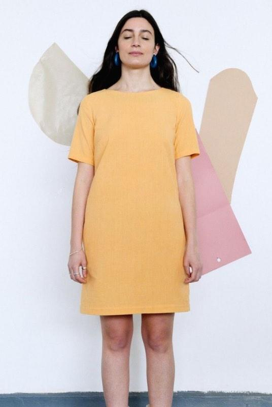 Yellow Organic Cotton T-Shirt Dress-Birdsong-MAMOQ