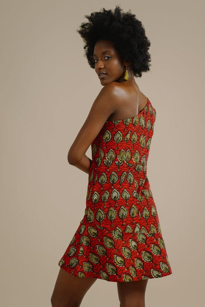 Zikomo one shoulder bodycon dress in red and gold fish print-Mayamiko-MAMOQ