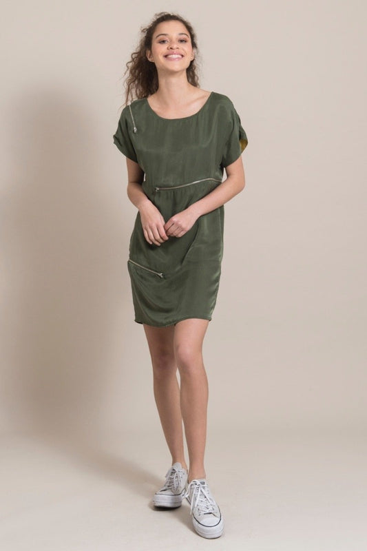 Zip-Me-Up Green Cupro Dress-blonde gone rogue-MAMOQ