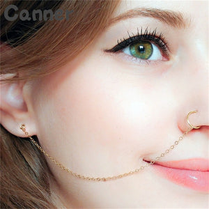 Canner Ethnic Punk Nose Rings Silver Gold Copper Clip On Nose Lip