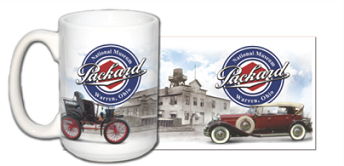 15 oz Packard Ceramic Mug featuring 1899 and 1931 Packards