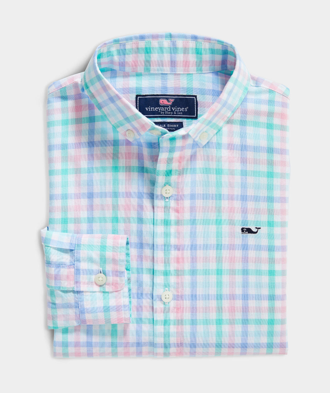 Vineyard Vines - Boys' Palm Beach Poplin Plaid Whale Button-Down Shirt