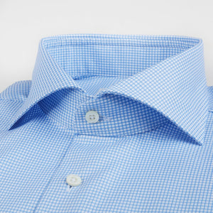 Stenstroms Light Blue Checked Fitted Body Dress Shirt