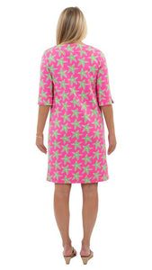 Marina Dress 3/4 Sleeve - Pink/Green Sea Star