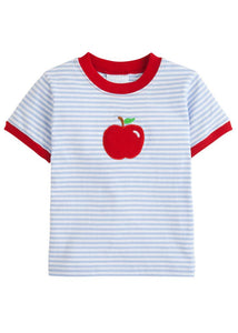 LITTLE ENGLISH - APPLE APPLIQUE T-SHIRT
