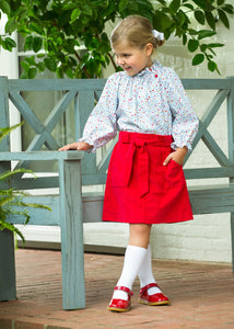 LITTLE ENGLISH - BELLFIELD SKIRT - RED CORDUROY