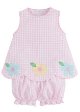Load image into Gallery viewer, LITTLE ENGLISH - DAISY APPLIQUE BOW BACK BLOOMER SET