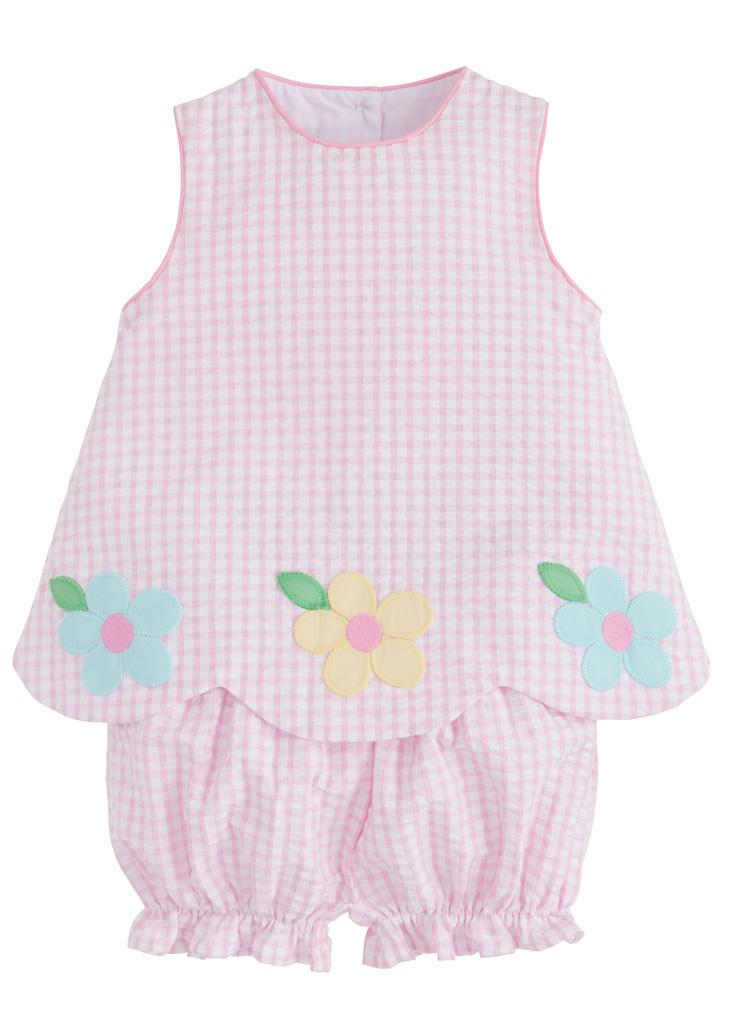 LITTLE ENGLISH - DAISY APPLIQUE BOW BACK BLOOMER SET