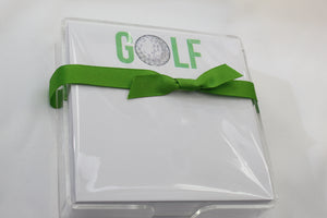 Golf note pad with lucite holder