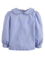 Load image into Gallery viewer, LITTLE ENGLISH - ROYAL GINGHAM RUFFLED PETER PAN BLOUSE