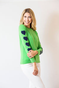 Two Bees Cashmere - Heart Sleeve | Green & Navy