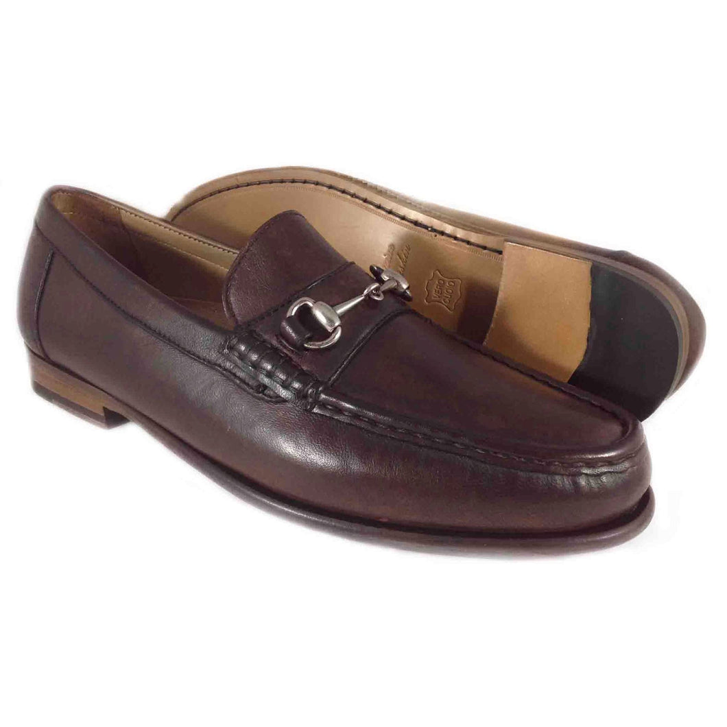 ALAN PAYNE SNAFFLE SHEEPSKIN BIT LOAFER  BROWN