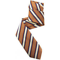 Dark Orange, Cream, Navy, and Pale Aqua Mogador Stripe Woven Silk Tie