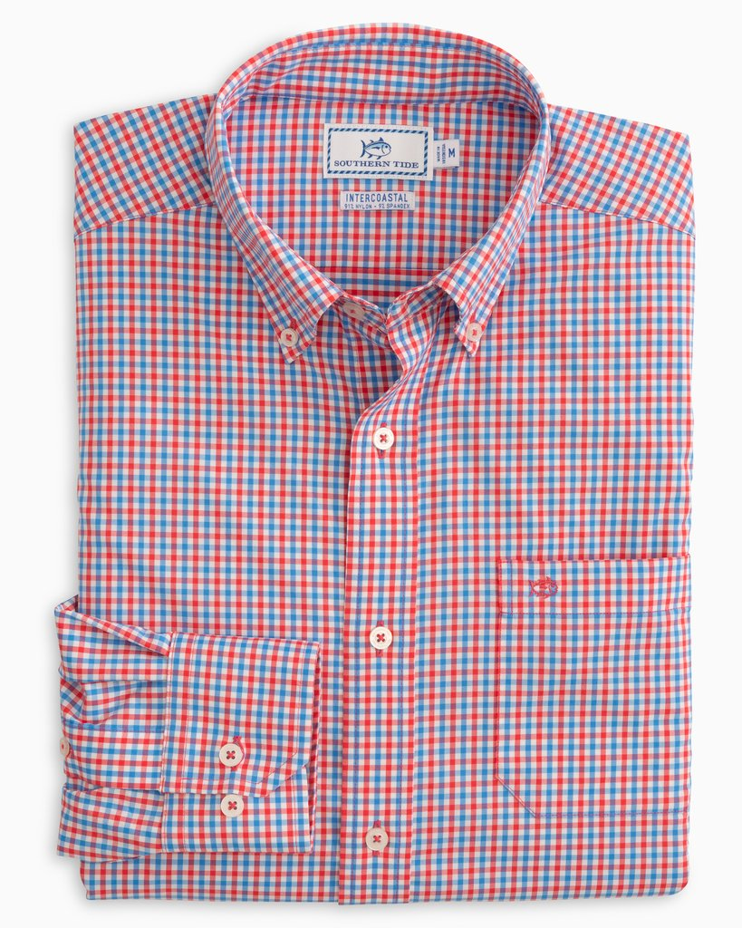 SOUTHERN TIDE - LEEWAY GINGHAM INTERCOASTAL PERFORMANCE SPORT SHIRT - MANGO