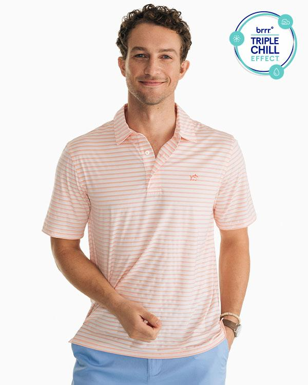 SOUTHERN TIDE - STRIPED DRIVER BRRR® PERFORMANCE POLO SHIRT