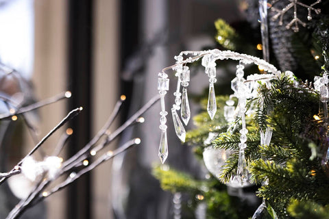 icicle ornaments on a tree