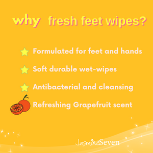 Fresh Feet Wipes -Antibacterial Grapefruit Wet Wipes - 45 Count Canister