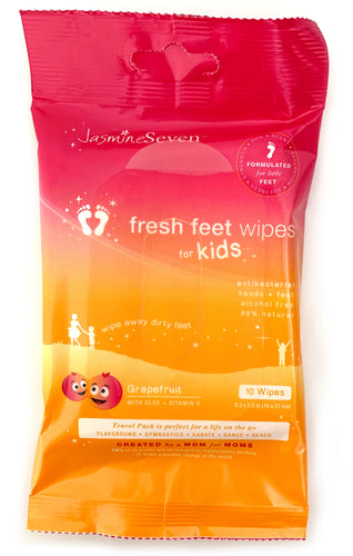 Fresh Feet Wipes for Kids - Grapefruit resealable 10ct - SET OF 8