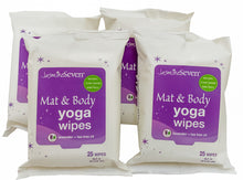 Load image into Gallery viewer, Yoga Wipes for Mat and Body – Natural Lavender and Tea Tree – Set of 4 (25 wipes per pack) = 100 wipes