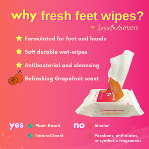 Fresh Feet Wipes -Antibacterial Grapefruit Wet Wipes - 25 Count - Set of 4