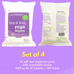 Yoga Wipes for Mat and Body – Natural Lavender and Tea Tree – Set of 4 (25 wipes per pack) = 100 wipes