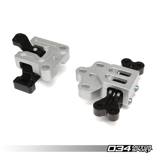 034Motorsport - 034-509-5015 - BILLET ALUMINUM MOTORSPORT ENGINE/TRANSMISSION MOUNT PAIR -- Audi (Mk2) A3 & TT: Volkswagen (Mk5) R32 -- 3.2L 24v VR6  (6-MT & DSG) vehicles