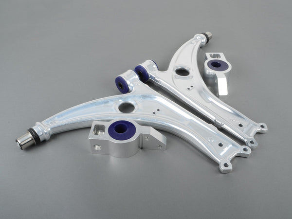 SuperPro ALLOY FRONT LOWER CONTROL ARM KIT (COMPLETE)--Audi (Mk2) A3 2WD & Quattro; Volkswagen (Mk3) Caddy, Scirocco; (Mk5/Mk6) Golf, Jetta FWD & 4motion