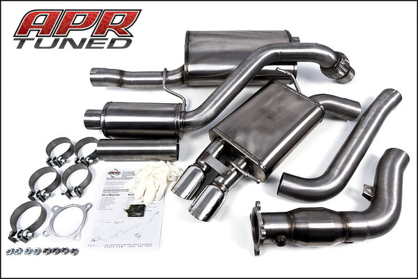 APR B8 A4/A5 2.0 TFSI Turboback Exhaust - Single Exit, Dual Polished Silver Tips