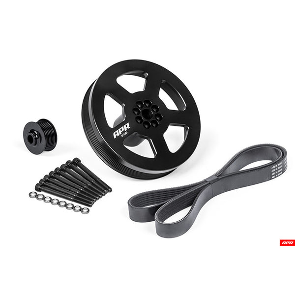APR - MS100185 - 3.0 TFSi 187mm SUPERCHARGER CRANK PULLEY UPGRADE -- BOLT-ON KIT - APR SC DRIVE PULLEY, APR CRANK PULLEY, and BELT