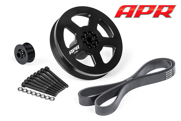 APR MS100184 3.0 TFSi 187mm SUPERCHARGER CRANK PULLEY UPGRADE -- PRESS-ON KIT - APR SC DRIVE PULLEY, APR CRANK PULLEY, and BELT