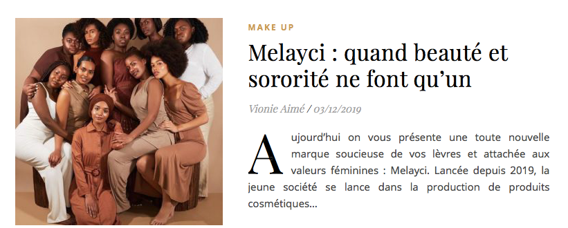 Black Girls on the blog, Melayci quand beauté et sororité ne font qu'un