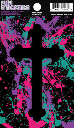 Neon Cross - Christian Stickers  Decorative Christian vinyl stickers. Great for binders, skateboards, lockers, and more!  © 2015 Slingshot Publishing