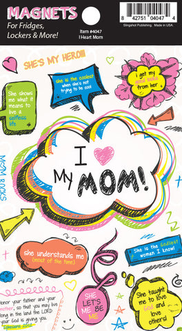 I Heart Mom - Christian Magnet  Vinyl Christian Magnets for Lockers, Fridges & More!  © 2015 Slingshot Publishing