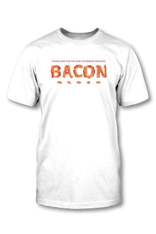 Bacon - Christian TShirt  Standard Cut  Our Standard Cut TShirt is a classic graphic tee that is perfect for men and women! It is a ring-spun, cotton tee.  Available in Small, Medium, Large, X-Large, and 2X-Large.  © 2015 Slingshot Publishing