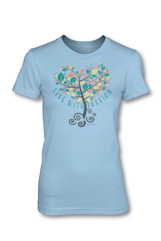 Passion - Christian TShirt  Girls Cut  This TShirt is super-soft with a slight stretch This junior tee is perfect for girls!  It is longer in length, has a tapered waist and a slightly sloped neck!  Available in X-Small, Medium, Large, X-Large, and 2X-Large.  Ladies Cut  Our Ladies Cut TShirts are designed specially for ladies and allows for a relaxed, generous fit while maintaining a feminine, stylish cut!  Available in Small, Medium, Large, X-Large, and 2X-Large.  © 2015 Slingshot Publishing