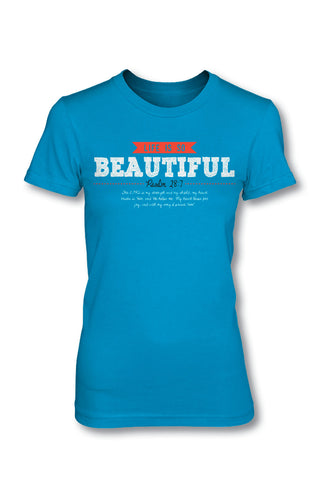 Life is Beautiful - Christian TShirt  Girls Cut  This TShirt is super-soft with a slight stretch This junior tee is perfect for girls!  It is longer in length, has a tapered waist and a slightly sloped neck!  Available in X-Small, Medium, Large, X-Large, and 2X-Large.  Ladies Cut  Our Ladies Cut TShirts are designed specially for ladies and allows for a relaxed, generous fit while maintaining a feminine, stylish cut!  Available in Small, Medium, Large, X-Large, and 2X-Large.  © 2015 Slingshot Publishing